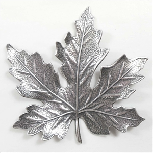 brass leaves, jewelry making, silver plate, 03457, B'sue Boutiques, nickel free jewelry supplies, US made jewelry supplies, vintage jewellery supplies, altered art jewelry, maple leaves, antique silver, 55mm