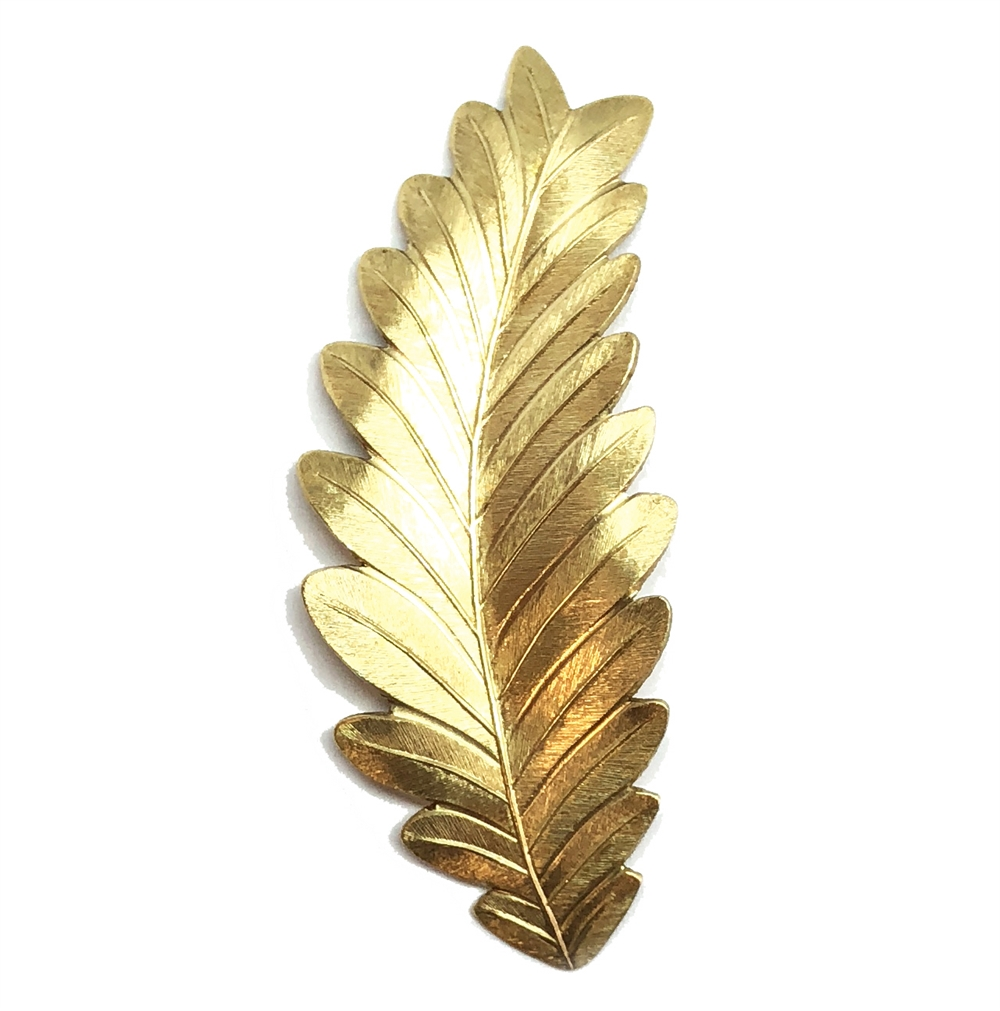 feather leaf stamping, brass stamping, raw brass, unplated brass, brass, antique brass, leaf, stamping, US made, dapt, curved, curved design, 54mm, feather leaf, feather design, jewelry making, vintage supplies, jewelry findings, jewelry supplies, 03794