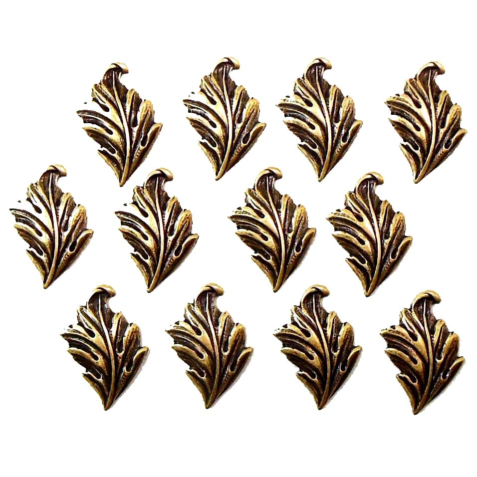 brass leaves, accent leaf, antique brass, brass ox, leaf, right facing, 17 x 11mm, 12 pieces, designed leaves, leaves, us made, nickel free, b'sue boutiques, jewelry findings, vintage supplies, jewelry supplies, victorian, brass, jewelry making,03891