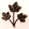 maple leaves, triple stem leaves, rusted iron brass, antique copper, 0413, B'sue Boutiques, nickel free jewelry supplies, US made jewelry supplies, vintage jewellery supplies, leaf findings,