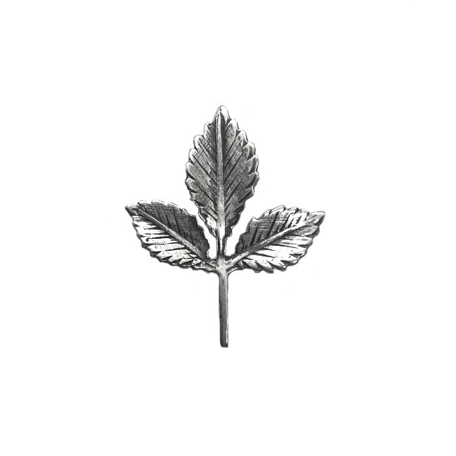 triple leaf stamping, silverware silverplate, 04320, B'sue Boutiques, nickel free,  jewelry supplies, US made jewelry supplies, leaf findings, antique silver, leaves, leaf sprig, silver leaves