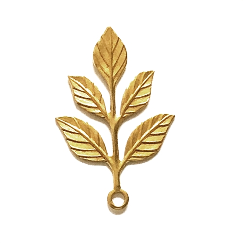 five leaf branch drop, drop, brass leaves, leaf stampings, classic gold plated, vintage supplies, brass jewelry parts, five petal leaves, jewelry making, B'sue Boutiques, us mad, jewelry supplies, nickel free, 32x24mm, classic gold, gold plated, 04976