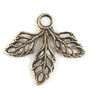 filigree leaves, jewelry making, brass ox, 18x16mm
