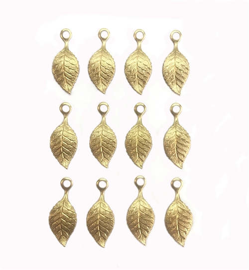 brass leaves, accent leaf, raw brass, unplated brass, leaf, 22x9mm, 12 pieces, designed leaves, leaves, us made, nickel free, b'sue boutiques, jewelry findings, vintage supplies, jewelry supplies, brass, jewelry making,05526