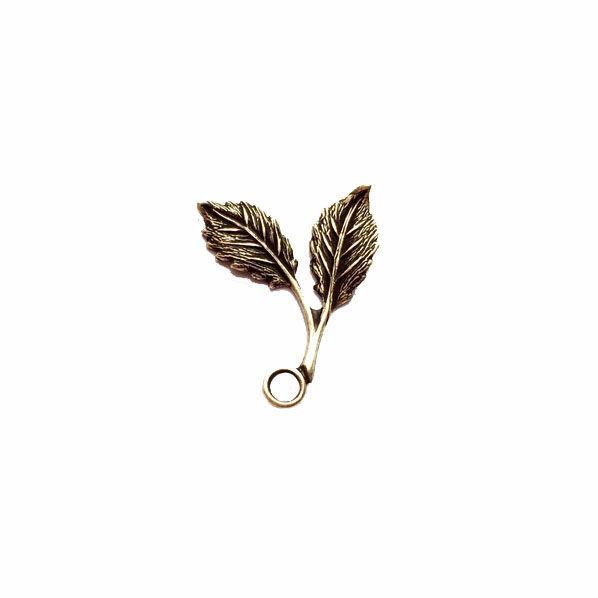 brass leaves, double leaf stem, brass ox, 0577, antique brass, vintage jewelry supplies, jewelry making supplies, brass jewelry  parts, leaf charms, black antiquing
