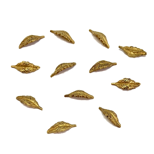 Tiny Brass Leaves, Leaf Accents, Classic Gold, 05787, Ceralun epoxy projects, brass stamping, brass leaves, 9x4mm, Us Made, Nickel Free, B'sue Boutiques, Jewelry Findings, Vintage Supplies, Jewelry Supplies,