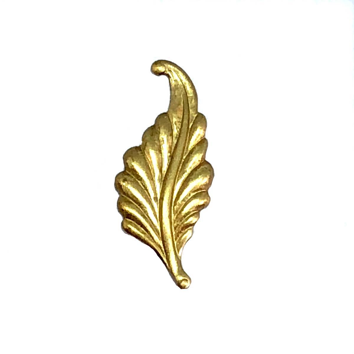 curved style leaf stamping, brass stamping, curved style, left facing, raw brass, unplated brass, antique brass, brass, B'sue Boutiques, US made, jewelry findings, jewelry supplies, leaf findings, jewelry making, vintage supplies, leaf, 31mm, 06263