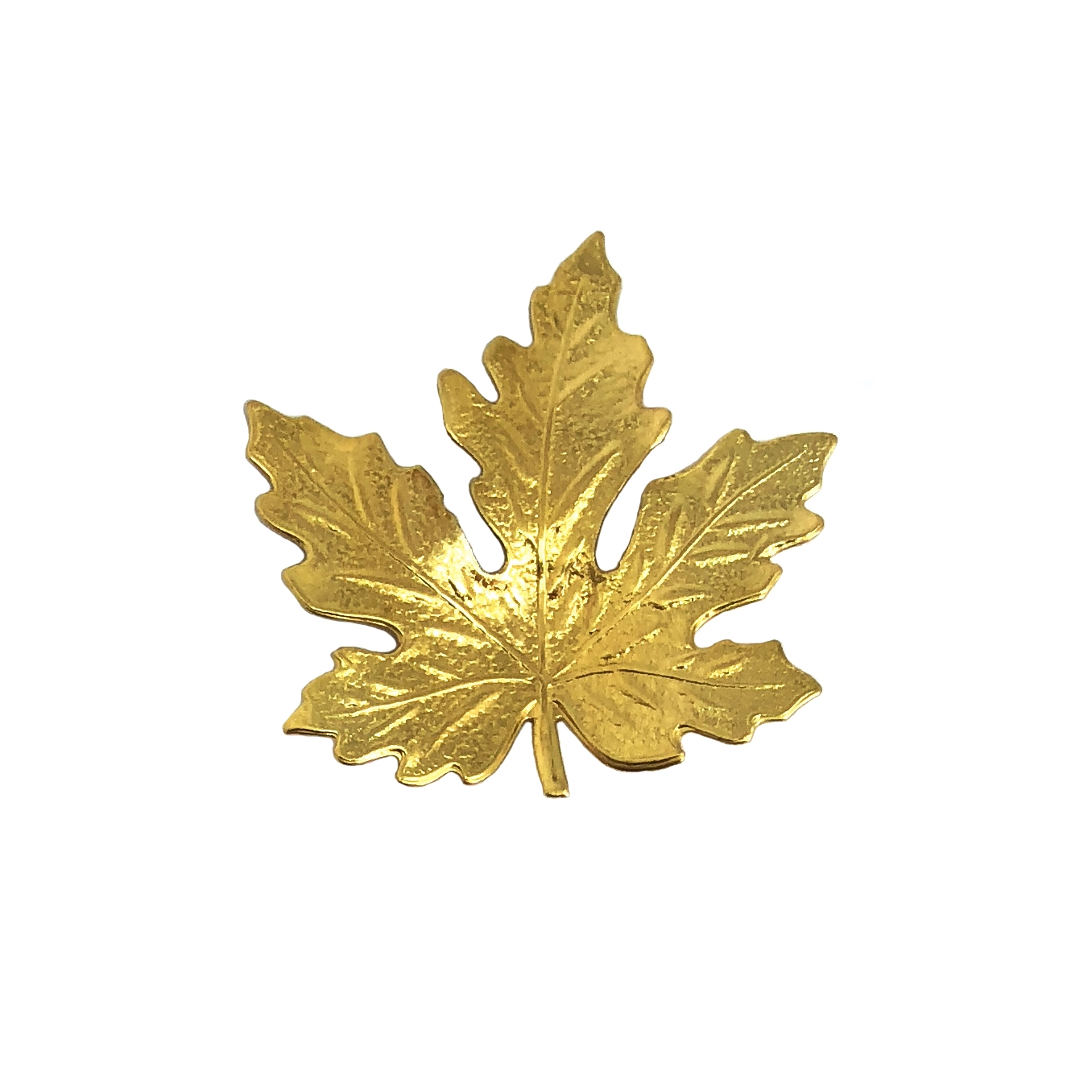 brass leaves, jewelry making, raw brass, B'sue Boutiques, nickel free, jewelry supplies, US made, vintage supplies, altered art jewelry, antique brass, 41mm, small maple leaf, leaf, maple leaf, unplated brass, brass stampings, leaf stamping, 016265