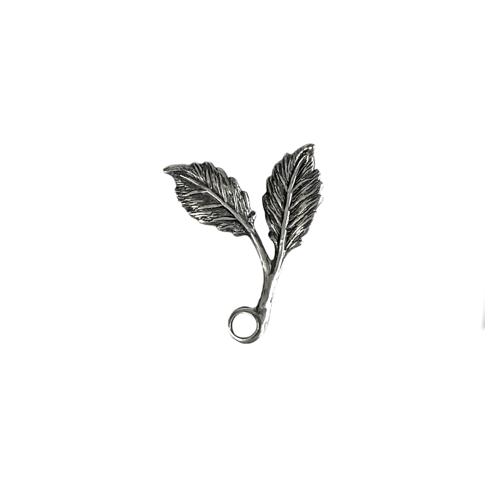 smaller double leaf sprig, silverware silverplate, antique silver, leaf sprig, brass sprig, jewelry leaf sprig, leaf, pendant style, left facing, double leaf sprig, jewelry making, vintage supplies, jewelry supplies, US-made, nickel free, 06393