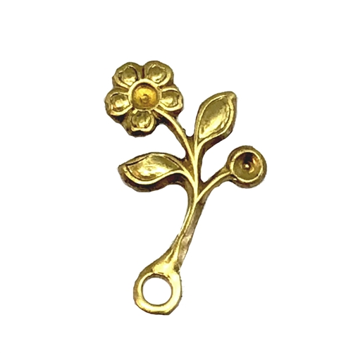 leaf stampings, floral stampings, raw brass, 06899, brass jewelry supplies, vintage jewellery supplies, B'sue Boutiques, nickel free, US made, beading supplies, rivet hole stampings, antique brass, single stem design