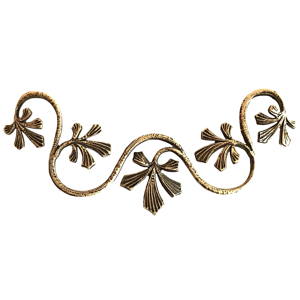 brass curved leaf vine, curved vine, 0721, jewelry making supplies, vintage jewelry supplies, leaf vine, brass vine, brass leaves, US made, nickel free jewelry supplies, b'sue boutiques, brass ox, antique brass, leaves
