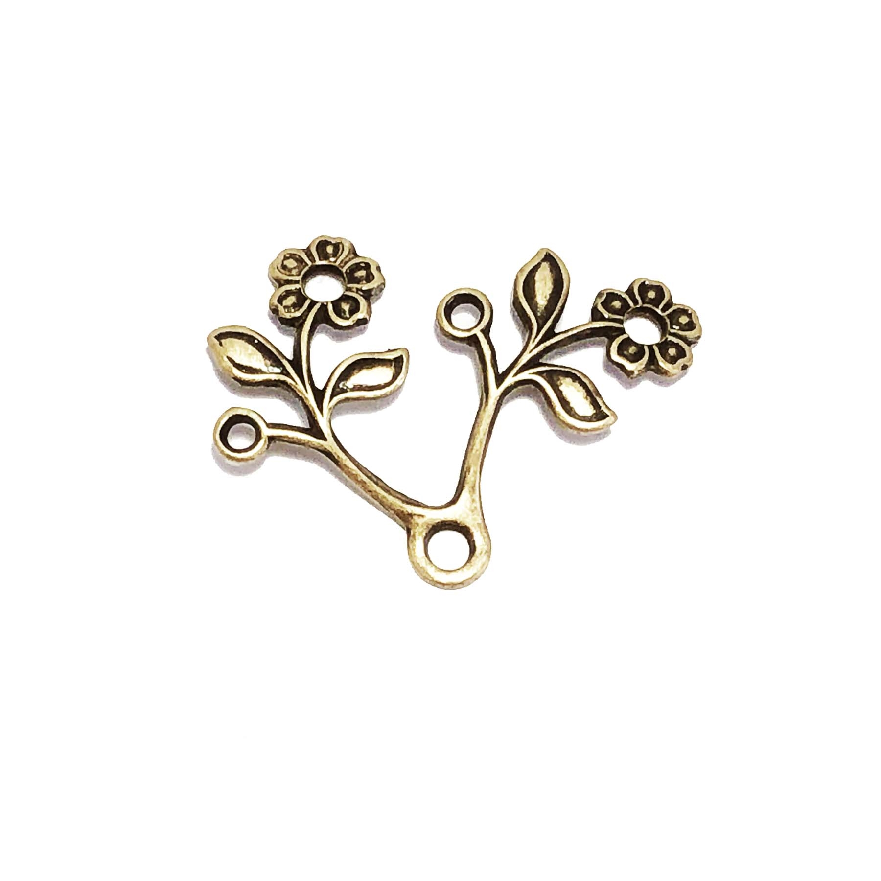 leaf stampings, floral stampings, brass ox, 0756, brass jewelry supplies, vintage jewelry supplies, B'sue Boutiques, nickel free, US made, beading supplies, rivet hole stampings, antique brass, floral leaf sprig, floral branch