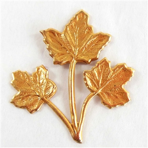 brass leaves, triple leaf stem, gold plate, 07777, Russian gold plate, B'sue Boutiques, nickel free jewelry, US made jewelry, vintage jewellery supplies, jewelry making supplies, beading supplies, antique gold