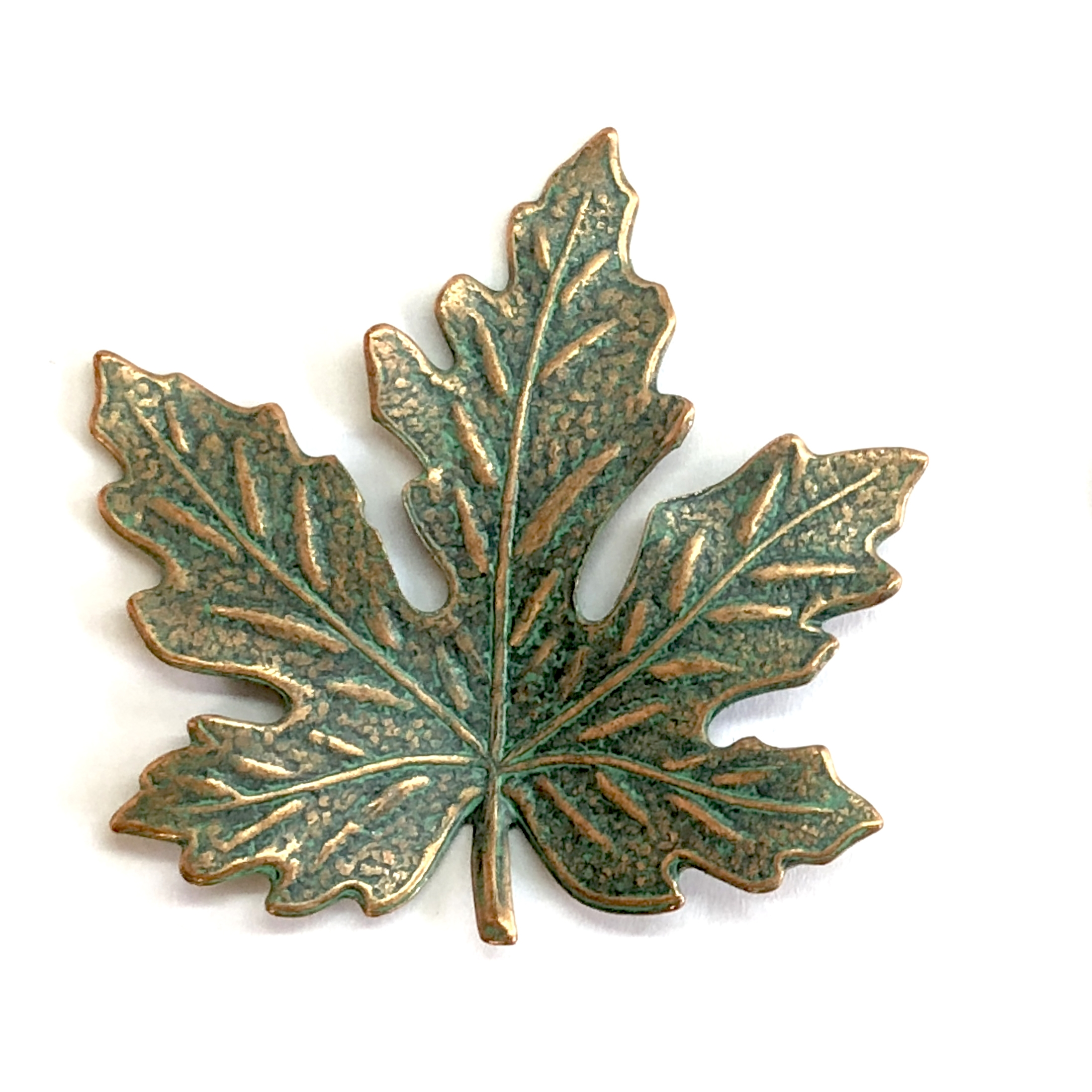 brass leaves, maple leaves, jewelry supplies, 41mm, 08174, B'sue Boutiques, US Made jewelry supplies, jewelry making supplies, nickel free jewelry supplies, vintage jewelry supplies, aqua copper patina, antique copper