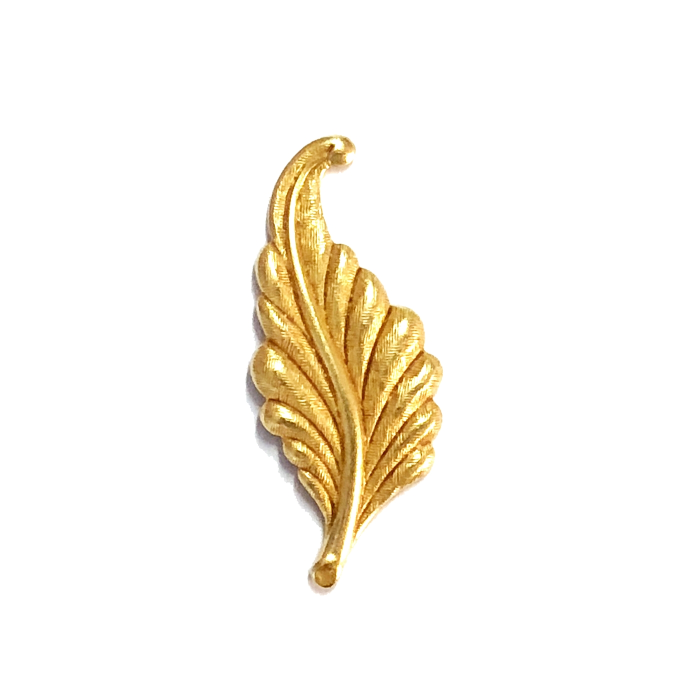 leaf stamping, classic gold, right facing, curved, brass, curved leaf, curved style, antique gold, leaf, 31mm, right, brass stamping, US made, nickel free, B'sue Boutiques, jewelry making, jewelry supplies, vintage supplies, jewelry findings, 08487