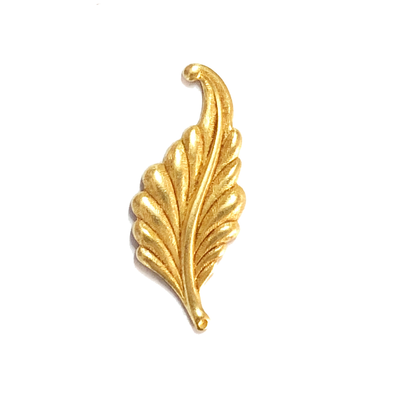 leaf stamping, classic gold, left facing, curved, brass, curved leaf, curved style, antique gold, leaf, 31mm, left, brass stamping, US made, nickel free, B'sue Boutiques, jewelry making, jewelry supplies, vintage supplies, jewelry findings, 08490