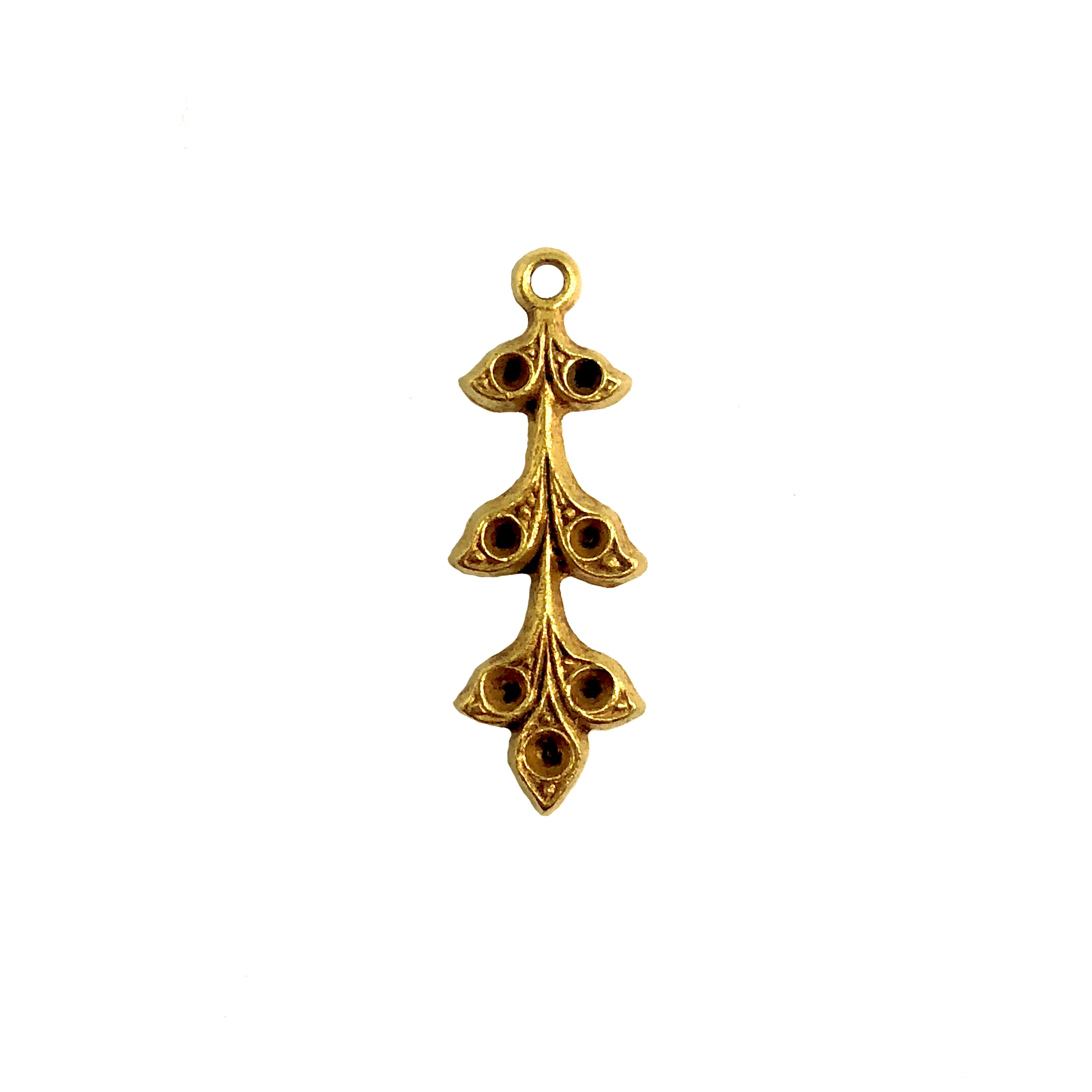 brass leaves, brass flowers, leaf sprig, 08494, classic gold, jewelry supplies, brass jewelry parts, vintage supplies, vintage jewelry, US made, nickel free, B'sue Boutiques, hanging hole, charm, leaf charm, pendant, leaf pendant, stone sets, earring drop