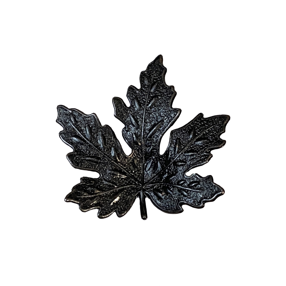 medium maple leaf, matte black brass, ebony brass, maple leaf, leaf, brass stamping, leaf stamping, US-made, nickel-free, matte black, 41x41mm, jewelry leaf, jewelry making, jewelry supplies, vintage supplies, jewelry findings, B'sue Boutiques, 08524