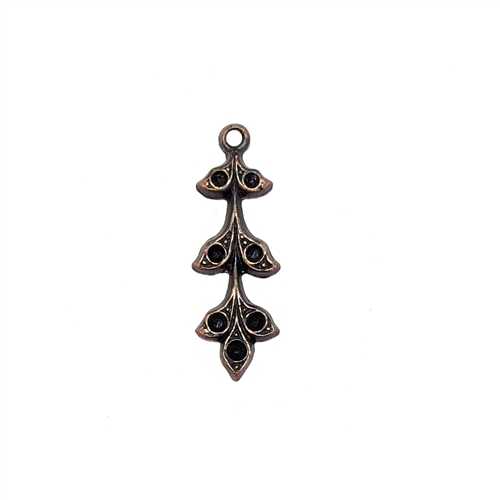 brass leaves, brass flowers, leaf sprig, 08613, rusted iron, jewelry supplies, brass jewelry parts, vintage supplies, vintage jewelry, US made, nickel free, B'sue Boutiques, hanging hole, charm, leaf charm, pendant, leaf pendant, stone sets