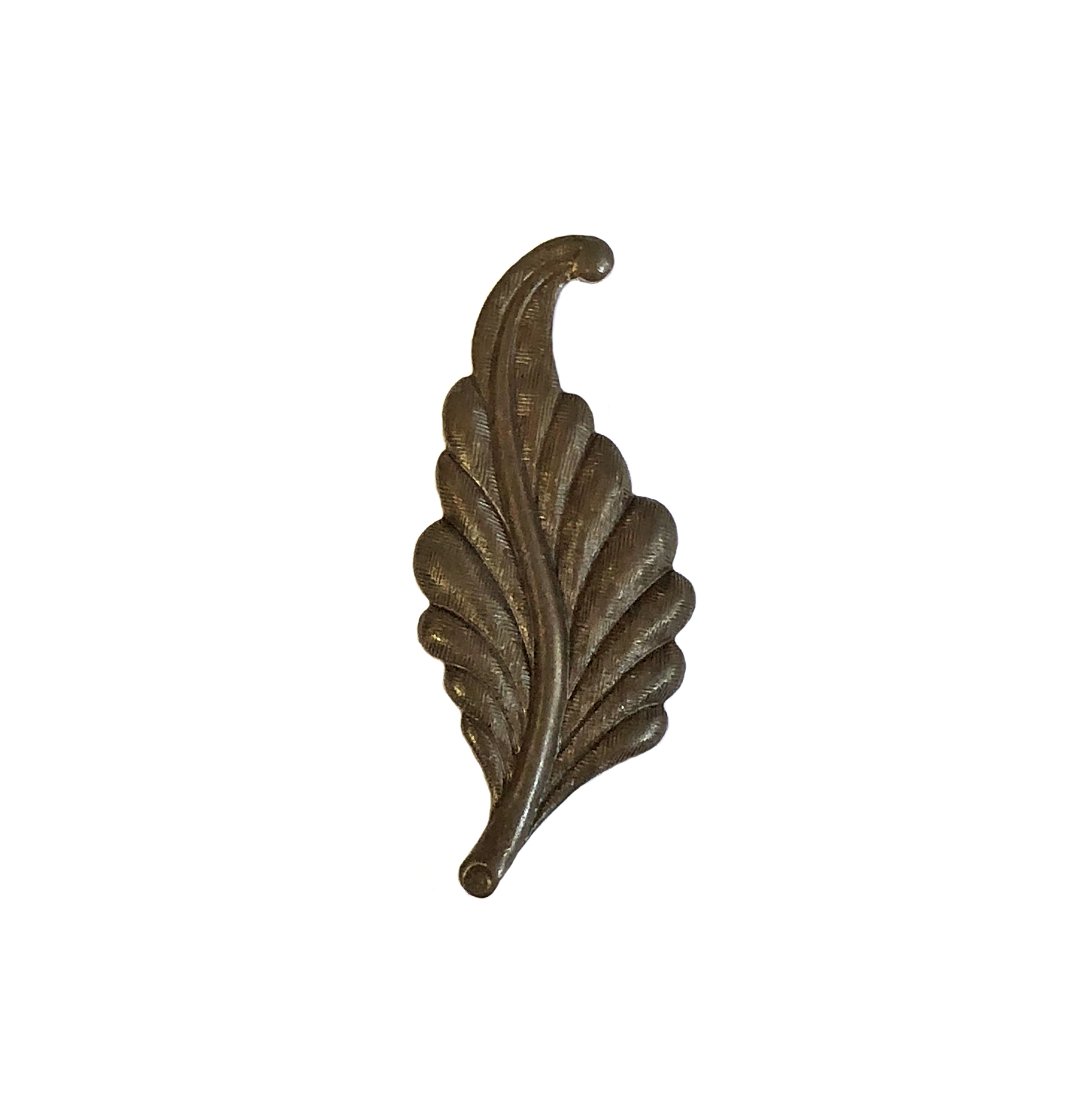 leaf stamping, chocolate brass, right facing, curved, brass, curved leaf, curved style, leaf, 31mm, right, brass stamping, us made, nickel free, B'sue Boutiques, jewelry making, jewelry supplies, vintage supplies, jewelry findings, 09940