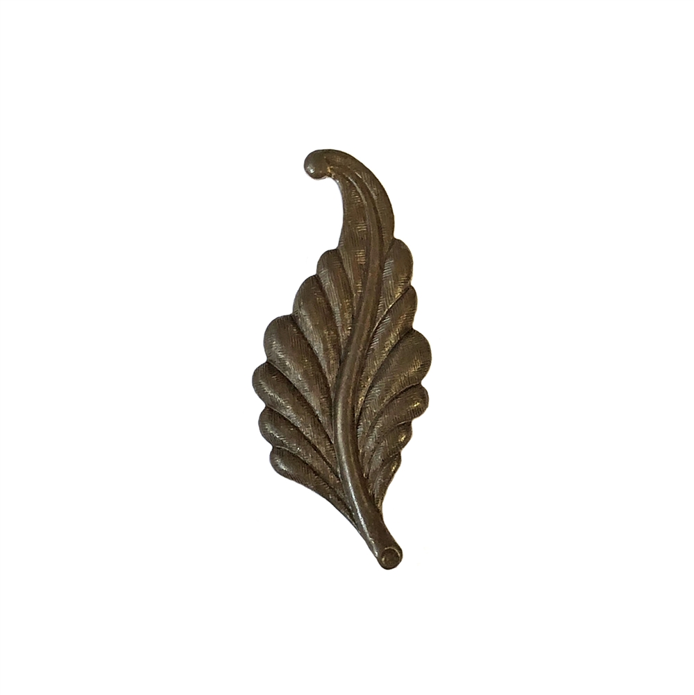 leaf stamping, chocolate brass, left facing, curved, brass, curved leaf, curved style, leaf, 31mm, left, brass stamping, us made, nickel free, B'sue Boutiques, jewelry making, jewelry supplies, vintage supplies, jewelry findings, 09941