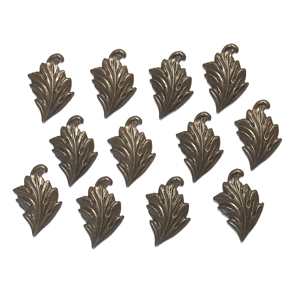 brass leaves, accent leaf, chocolate brass, leaf, right facing, 17 x 11mm, 12 pieces, designed leaves, leaves, us made, nickel free, b'sue boutiques, jewelry findings, vintage supplies, jewelry supplies, victorian, brass, jewelry making,09950