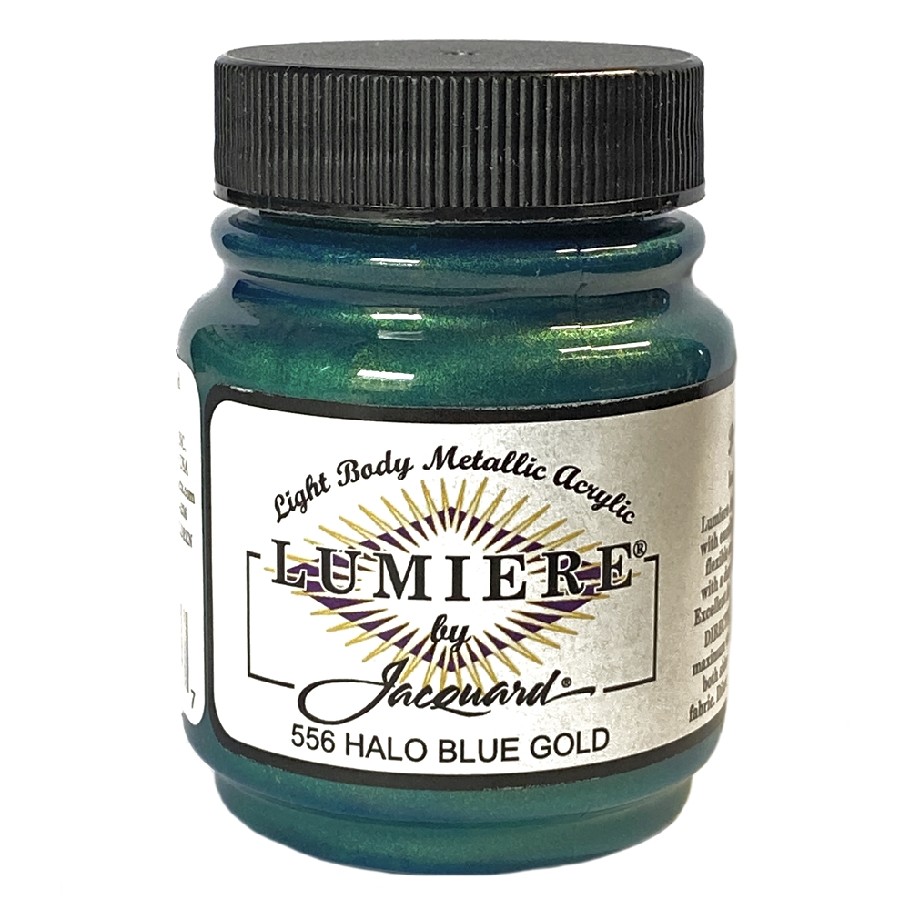 Lumiere acrylic paint, metallic paint, craft paint, jewelry making supplies, paint supplies, metal painting, US made paint supplies, acrylic paint, metal paint, halo blue gold paint, halo blue, Lumiere paint, pearlescent paint, weather resistant, 02771
