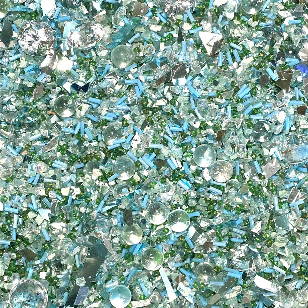 Catch a wave mermaid sand, resin inclusions, 02100, crystal spheres, crystal chips, glass chips, seed beads, bugle beads, sparkle, jewelry making, jewelry findings, B'sue Boutiques, vintage supplies, resin, resin filler, design embellishments