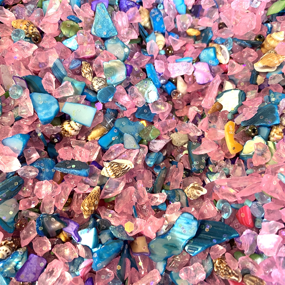 pink flamingo mermaid sand, resin inclusions, 02198, crystal chips, glass chips, pink and turquoise colors, sea shells, sparkle, jewelry making, jewelry findings, B'sue Boutiques, vintage supplies, resin, resin filler, design embellishments
