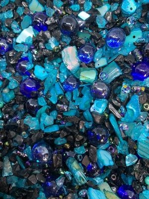 Midnight Blue Beach, Mermaid Sand, mer2201, shell chips, resin, resin inclusions, druzy stone, teal blue, jet/ab, seed beads, crushed glass, teal, blue, jet, silver,micro beads, B'sue Boutiques, mermaid, mermaid jewelry, one of a kind, bead mixes