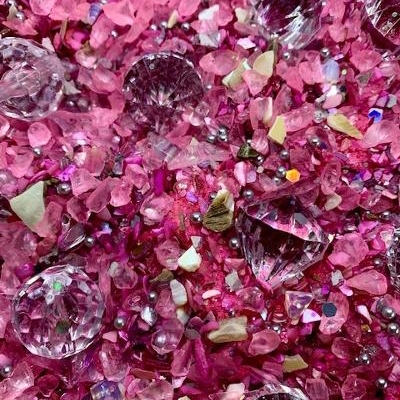 Pink Glass Beach, Mermaid Sand, mer2203, pink, rose pink, B'sue Boutiques, mermaid, pink mermaid, resin, mosaic, ceralun, true pink, crystal gems, shell chips, limited edition, one of a kind, exclusive product, mixed media, mixed media jewelry making