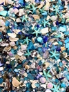 Turquoise Waves, Mermaid Sand, Starfish, merm02212, stone starfish, dyed shell chips, sea shells, crushed glass, pearls, bugle beads, glitter, crystal beads, limited edition, resin, resin inclusions, mermaid jewelry, beach jewelry, B'sue Boutiques