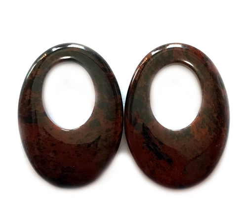 mahogany obsidian hoop, semi precious stone hoop, 35x25mm, brown black blend hoop, stone hoop, earrings, semi precious, stone, us made, B'sue Boutiques, jewelry stone, jewelry making, shiny gloss, pendant, oval donut stone, mssp192