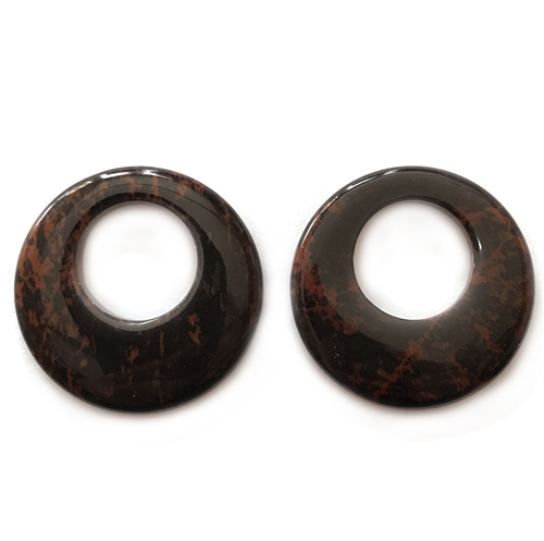 brown obsidian hoop, semi precious stone hoop, 30mm, brown black blend hoop, round stone hoop, earrings, semi precious, stone, us made, B'sue Boutiques, jewelry stone, jewelry making, shiny gloss, pendant, donut stone, mssp193