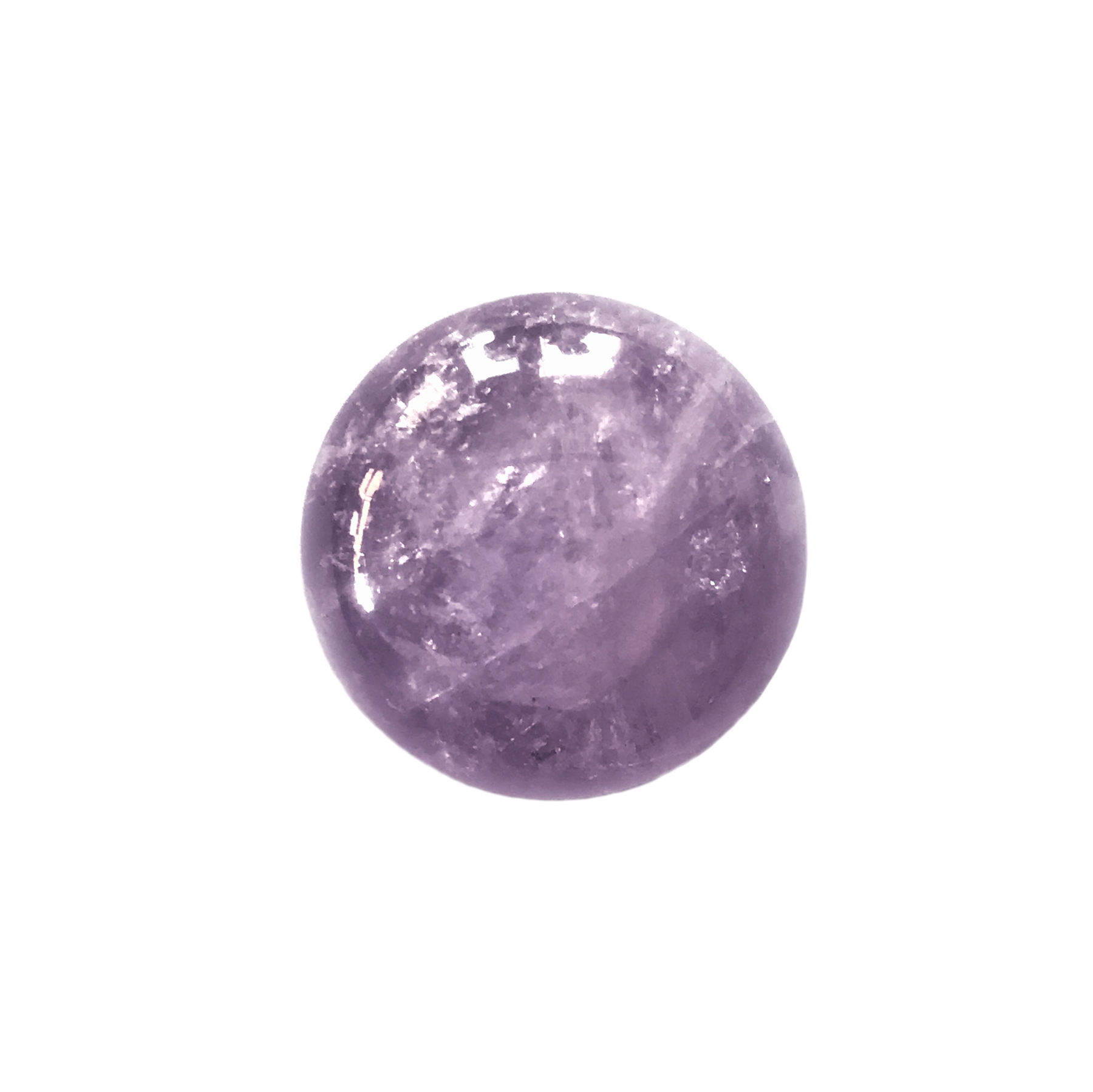 cape amethyst stone, semi precious stone, amethyst, pale purple, focal stone, 18mm, cabochon, natural stone, cape amethyst, white, purple stone, semi stone, transparent, round, glossy shine, stone, us made, B'sue Boutiques, jewelry stone, MSSP55
