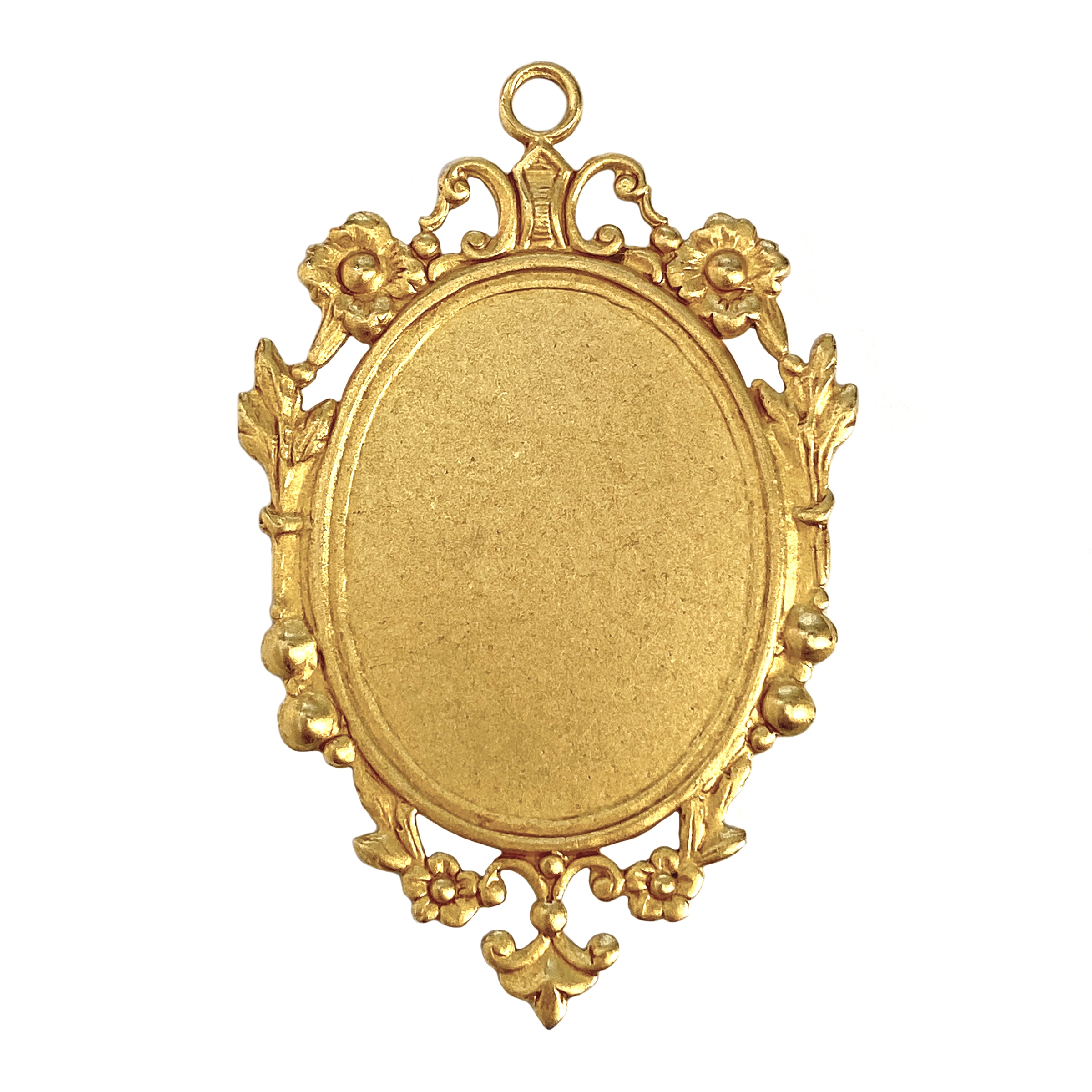Victorian floral pendant mount, classic gold, gold, mount, pendant, floral border, brass, Victorian mount, Victorian border, 55x36mm, pendant mount, floral pendant mount, brass stamping, US-made, jewelry making, jewelry supplies, vintage, 01236