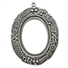 backless floral wreath jewelry mount, silverware silverplate, mount, pendant, backless mount, pendant mount, antique silver, jewelry mount, floral design, floral border mount, 40x30mm mount, jewelry making, jewelry supplies, stamping, B'sue, 01301