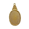 floral pendant mount, classic gold plated, mount, pendant, floral mount, pendant mount, antique gold, jewelry mount, floral design, floral border mount, 25x18mm mount, jewelry making, jewelry supplies, stamping, B'sue, pendant drop, gold, 01318