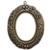 backless floral wreath jewelry mount, brass ox, mount, pendant, backless mount, pendant mount, antique brass, jewelry mount, floral design, floral border mount, 40x30mm mount, jewelry making, jewelry supplies, stamping, B'sue Boutiques, 01324