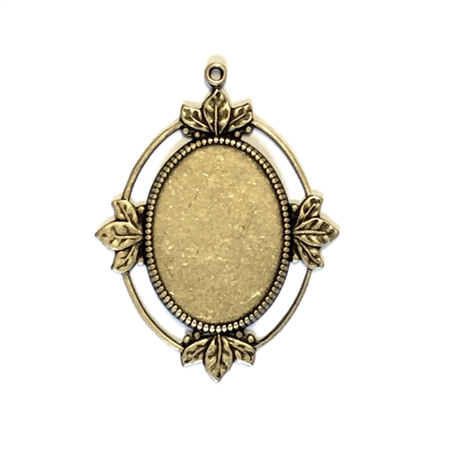 Cameo Mount, Leafy Style, Brass Ox, 01369, antique brass, black antiquing, open frame, US made, nickel free, bsueboutiques, jewelry making supplies, vintage jewelry supplies, brass jewelry parts, , antique brass, black antiquing, open frame, US made, nick