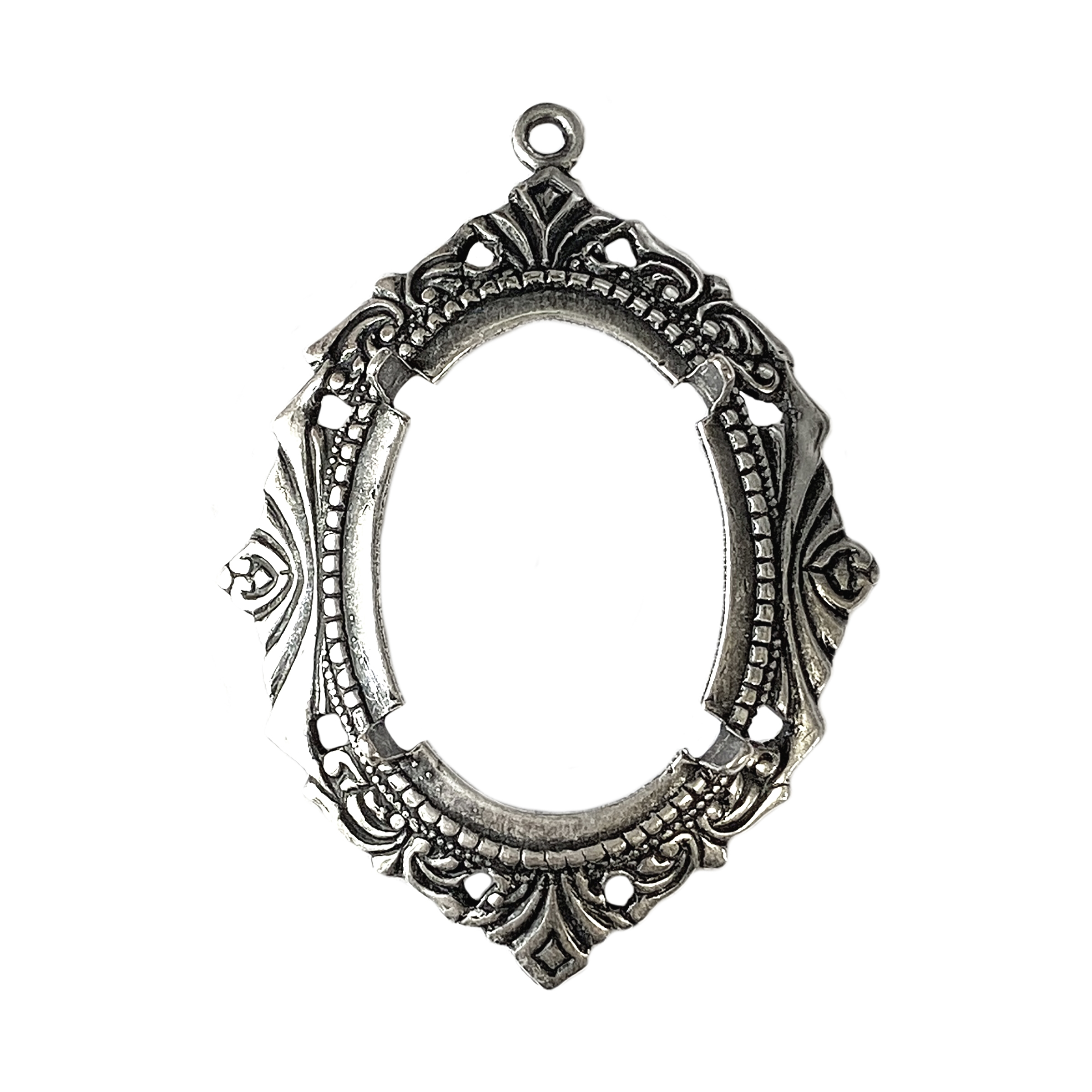backless Victorian jewelry mount, silverware silverplate, mount, pendant, backless mount, pendant mount, antique silver, jewelry mount, floral design, floral border mount, 25x18mm mount, jewelry making, jewelry supplies, stamping, B'sue, bezel, 01652