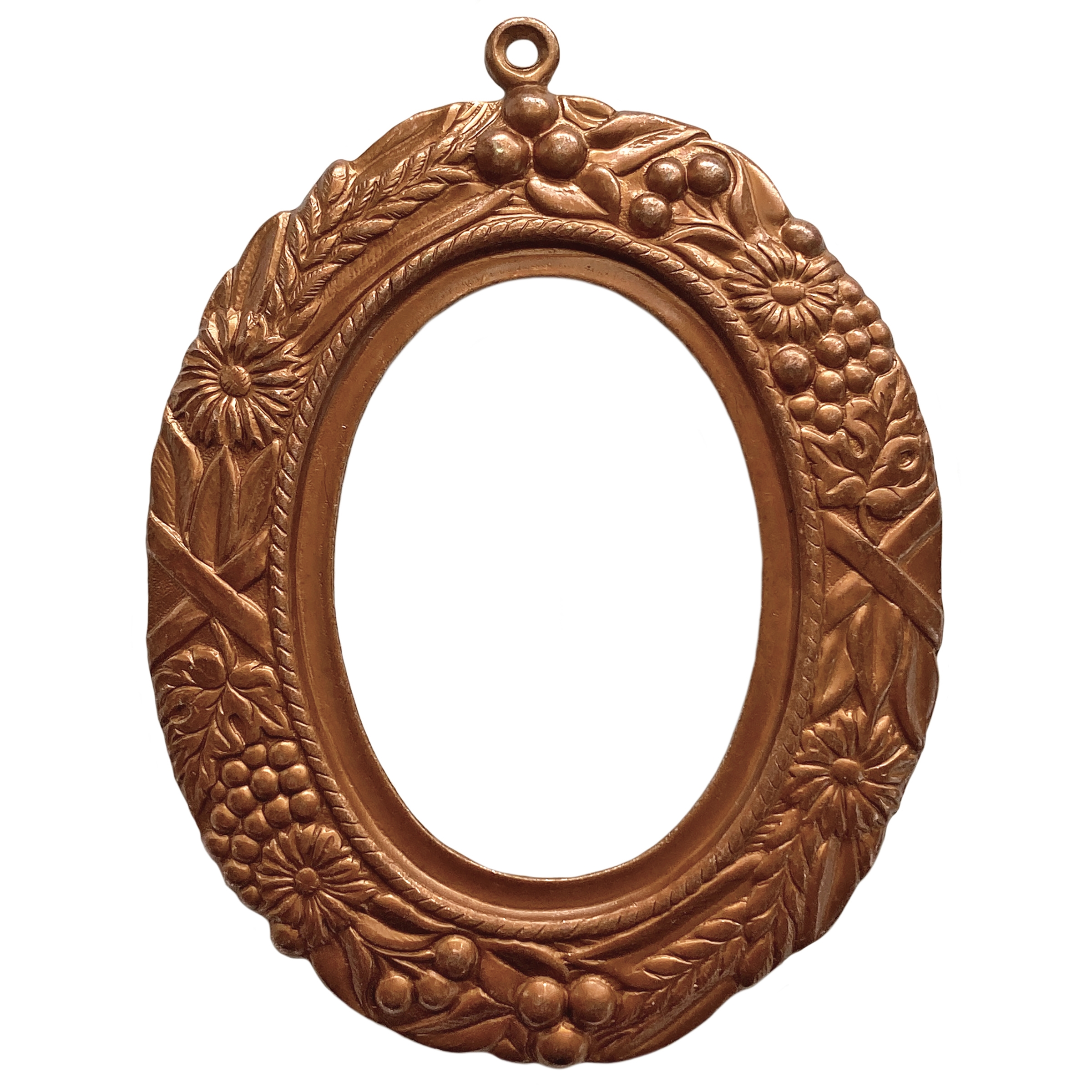 backless floral wreath jewelry mount, gingerbread brass, mount, pendant, backless mount, pendant mount, antique copper, jewelry mount, floral design, floral border mount, 40x30mm mount, jewelry making, jewelry supplies, stamping, B'sue, 01690