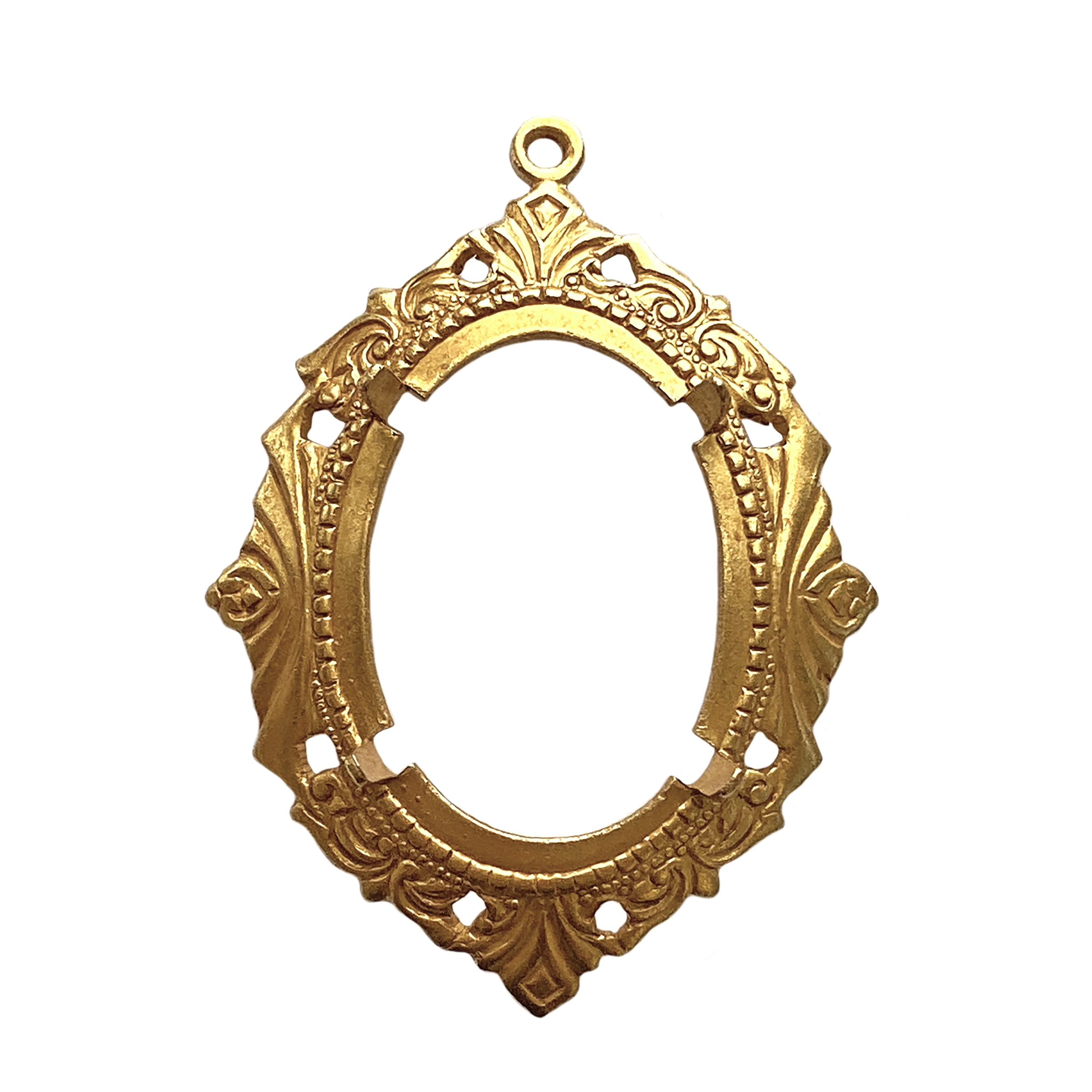 backless Victorian jewelry mount, classic gold finish, mount, pendant, backless mount, pendant mount, antique gold, jewelry mount, floral design, floral border mount, 25x18mm mount, jewelry making, jewelry supplies, stamping, B'sue, bezel, gold, 01702