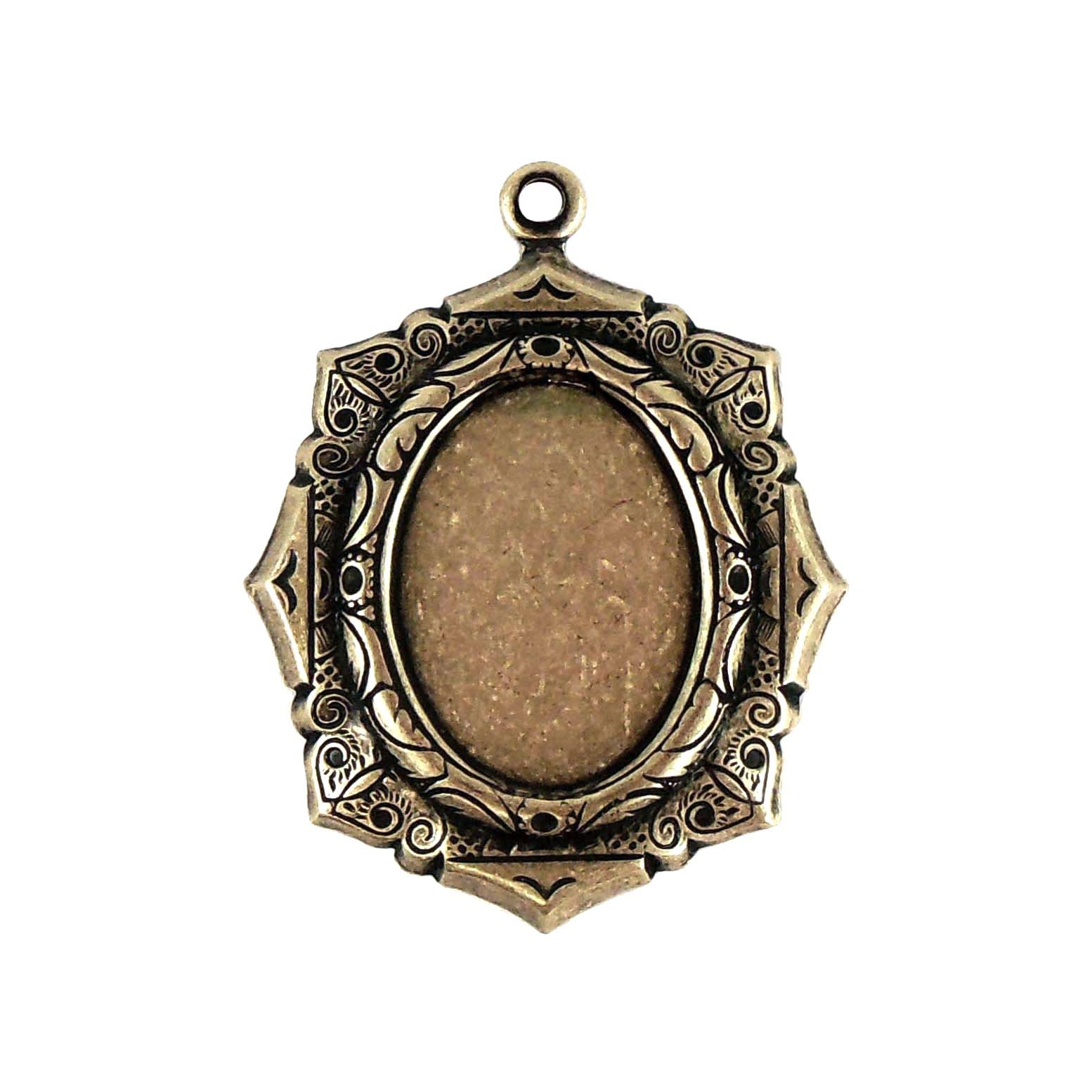 brass mount, brass pendant, cameo mount, 0190, B'sue Boutiques, nickel free jewelry supplies, vintage jewellery supplies, jewelry making supplies, brass ox, antique brass, stone mount, jewelry findings, 18 x 13mm
