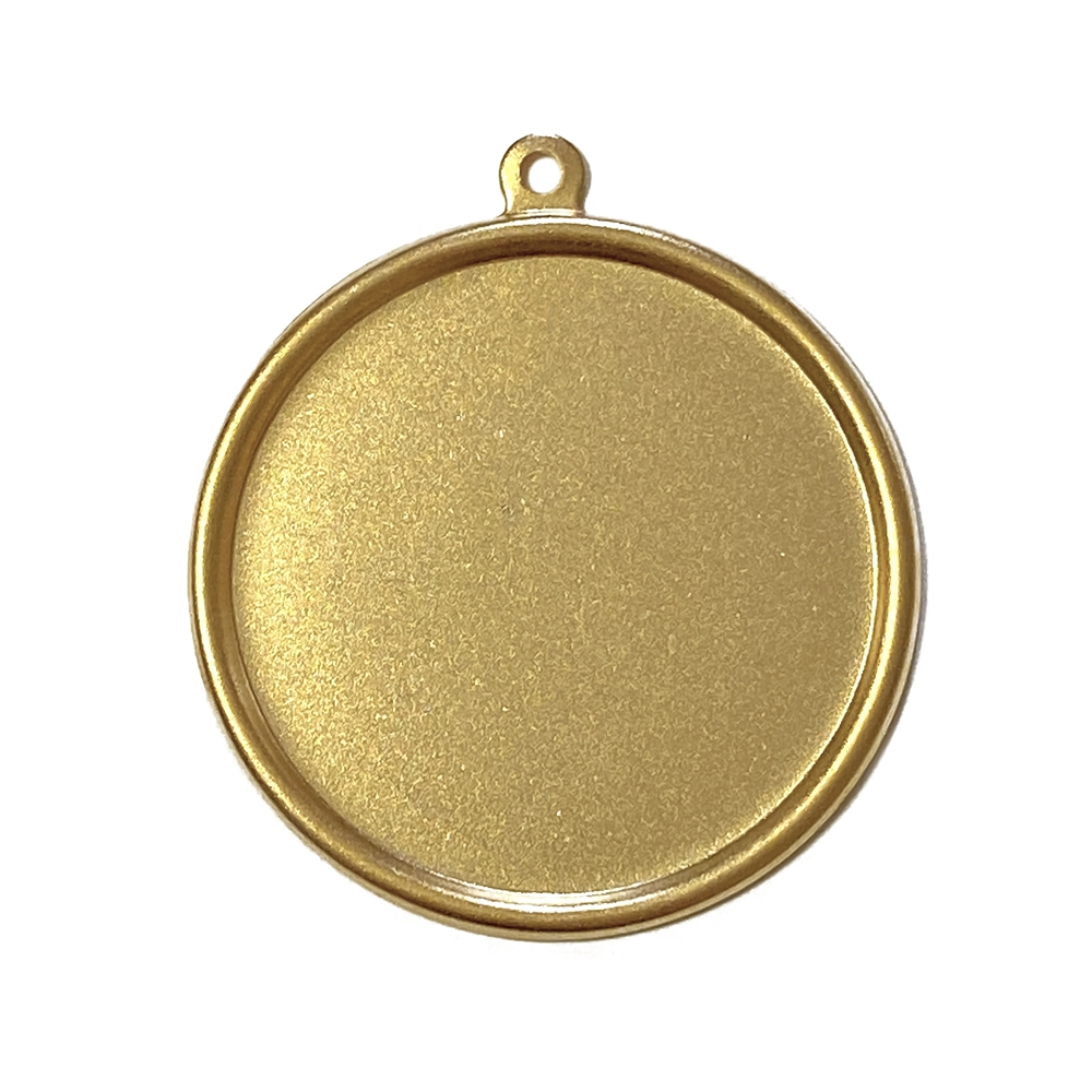 simple style pendant mount, pendant mount, mount, pendant, 22K satin gold, gold brass, cameo mount, simple border stampings, brass stamping, vintage supplies, 30mm mount, jewelry making, jewelry supplies, vintage supplies, B'sue Boutiques, 02602