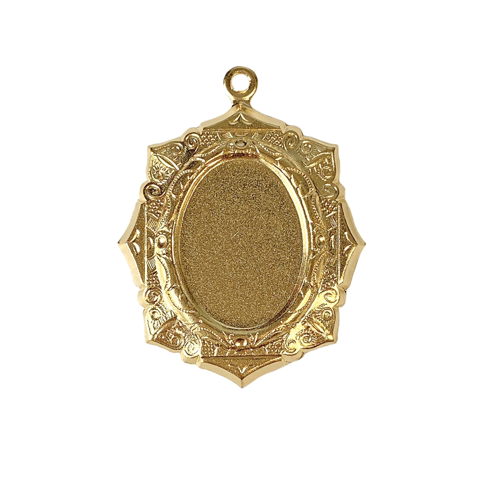 brass mount, brass pendant, cameo mount, B'sue Boutiques, nickel-free, jewelry supplies, vintage supplies, jewelry making, 22K satin gold brass, stone mount, jewelry findings, 18x13mm, pendant mount, pendant, mount, vintage style pendant mount, 02656
