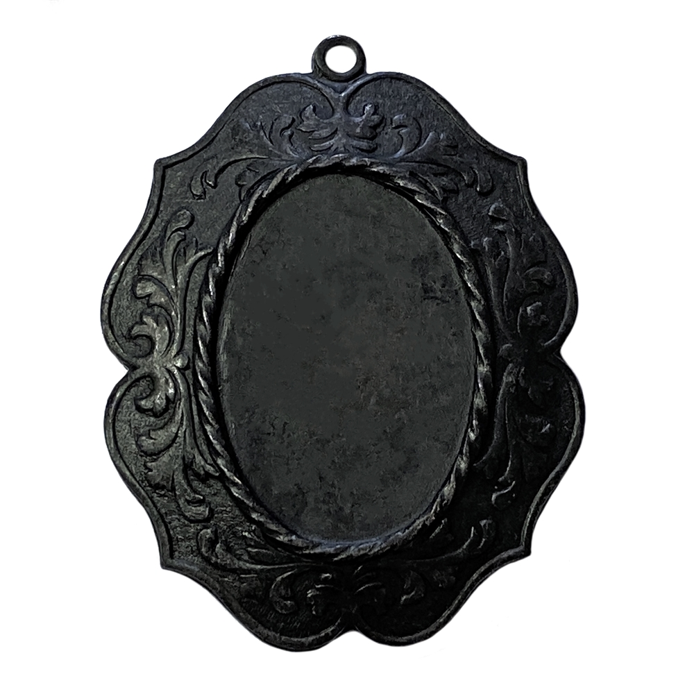 victorian style pendant mount, matte black, ebony brass, mount, pendant, US made, nickel free, 25x18mm mount, pendant mount, victorian style, rope border, brass, jewelry making, jewelry supplies, vintage supplies, B'sue Boutiques, 02795