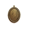 beaded edge design mount, brass ox, mount, antique brass, brass, pendant top mount, pendant, bezel, 25x18mm, us made, nickel free, B'sue Boutiques, vintage supplies, jewelry supplies, jewelry making, jewelry findings,mounts, pendant style, 02883