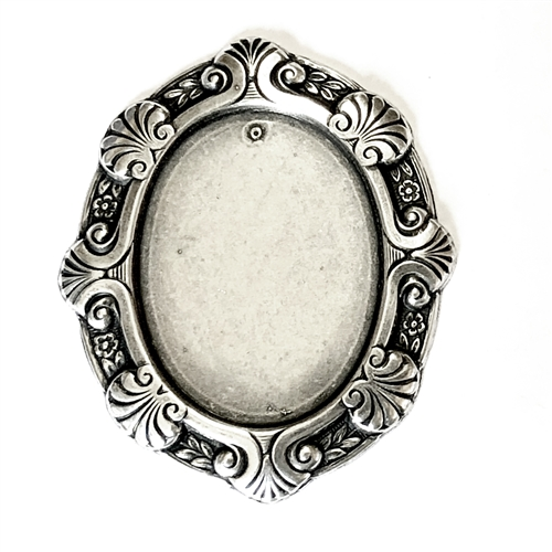 brass mount, Victorian jewelry mount, 03378, cameo mount, B'sue Boutiques, US made jewelry supplies, nickel free jewelry supplies, vintage jewellery supplies, jewelry making supplies, silverware silver plate, antique silver
