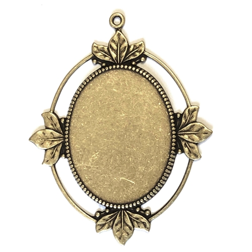 Cameo Mount, Leafy Style, Brass Ox, 03617, antique brass, black antiquing, open frame, US made, nickel free, bsueboutiques, jewelry making supplies, vintage jewelry supplies, brass jewelry parts,